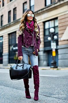 Fuchsia Pink Burberry Scarf // BlankNYC Burgundy Suede Jacket (wearing an XS) // Similar Gray Jeans // Similar Burgundy Over-The-Knee Boots (also love this velvet version) // Mirrored Aviators (exact color sold out, similar pair here) // Givenchy...