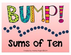 """Kids love these active, kinesthetic slides to increase math fluency:  """"BUMP!  Sums of Ten""""  {Missing Addend} $"""