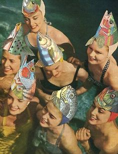 heidinote: I love the unity the crazy fish hats give the girls, and the way it speaks to having fun (partyhats) and being at home in the water (fish).  How can you visually represent the connections you share with a group of your friends using collage and symbolism? Do an art journal page like this on a photo of you with friends.