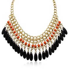 Adoriana Mandarin Orange and Black Onyx Crystal Bib Necklace In Gold... (765 RUB) ❤ liked on Polyvore featuring jewelry, necklaces, yellow, gold jewellery, gold chain necklace, yellow necklace, crystal chain necklace and gold bib necklace