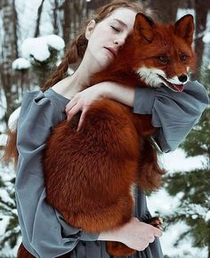 The Girl and Red Fox. It is Plain to See How Much This Young Girl Loves Her Stunning Red Fox as She Presses Him Close to Her. (Beautiful Photographs by Alexandra Bochkareva). Animals And Pets, Baby Animals, Cute Animals, Wild Animals, Fantasy Photography, Animal Photography, Wildlife Photography, Beautiful Creatures, Animals Beautiful