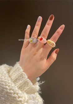 Fimo Ring, Resin Ring, Ring Necklace, Ring Bracelet, Diy Clay Rings, Biscuit, Lotion, Chunky Rings, Gold Band Ring