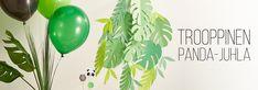 Hyppää juhlatrendien huipulle ja järjestä tänä kesänä mukaansa tempaavat viidakkoaiheiset juhlat. Viidakossa seikkailevat lapsen lempieläimet ja tallustaahan siellä pandakin. Paperisista lehdistä tehdään nyt bacdroppeja, eli taustakoristeita tai juhlapöydän somisteita. Lataa ja tulosta lehdet omiin askarteluihin ja pandanaamari juhlakansan askarreltavaksi.