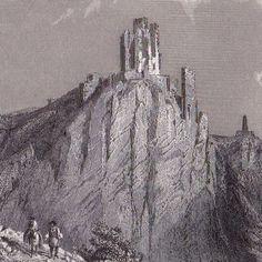 Gravure-XIXe-Drachenfels-Nibelungen-Siegfried-Rhein-Rhin-1860
