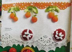 Barrado frutinhas de crochê para pano de prato com gráfico