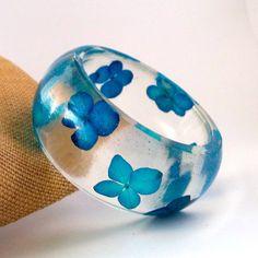 Blue Hydrangea Resin Bangle Bracelet  by SpottedDogAsheville, $39.00  Lovely jewellery by SpottedDogAsheville