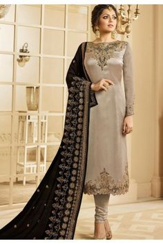 Style and trend will be at the peak of your beauty when you attire this grey georgette satin Drashti Dhami churidar designer suit. The embroidered and patch border work looks chic and perfect for cere. Salwar Suits Party Wear, Churidar Suits, Salwar Kameez, Salwar Dress, Sharara, Anarkali Suits, Pakistani Outfits, Indian Outfits, Bollywood Outfits