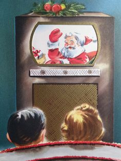 50s Santa on that new-fangled television contraption