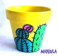 Resultado de imagen para manjula macetas Flower Pot Art, Flower Pot Crafts, Cactus Flower, Clay Pot Projects, Clay Pot Crafts, Home Crafts, Painted Clay Pots, Painted Flower Pots, Pots D'argile