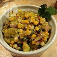 Salade de maïs grillé et de piment poblano, vinaigrette au chipotle
