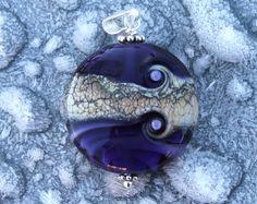 Purple Glass Bead Pendant, Glass Medallion, Sterling Silver, Glass Bead Lentil, Lampwork Glass, Swedish Handmade by Marianne Degener