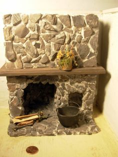 A stone aged fireplace dollhouse miniature by WeeWovens on Etsy Fairy Furniture, Miniature Furniture, Doll Furniture, Dollhouse Furniture, Miniature Fairy Gardens, Miniature Houses, Miniature Dolls, Dollhouse Dolls, Dollhouse Miniatures