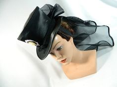 Tophat black Minihat Fascinator Minizylinder Steampunk Burlesque Wedding Bonnet Gothic Gown Bibi Dress Fascinator Hut Chapeau riding Hat by Nashimiron on Etsy