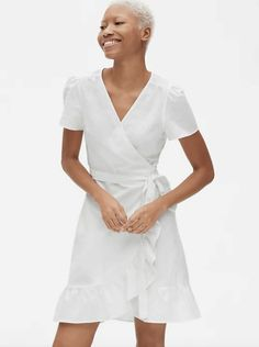 Ruffle Wrap Dress In Linen Cotton Sleeves Flutter Short