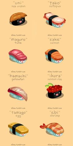 Some very kawaii sushi! Japanese Phrases, Japanese Words, Japanese Food Art, Japanese Food Names, Japanese Quotes, Japanese Things, Japanese Kanji, Cute Japanese, Sushi Recipes