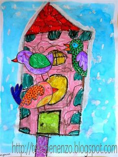 drawing sheet oilpastel liquid watercolour paint brushes tape The best nest for birds in winter is a colourful one! Artists For Kids, Art For Kids, Spring Projects, Art Projects, Third Grade Art, Grade 1, Let's Make Art, Drawing Sheet, Liquid Watercolor