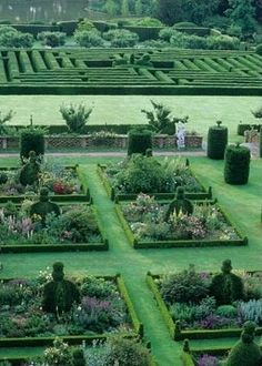 Overview of the East Garden parterre and maze beyond - Hatfield House, Herts