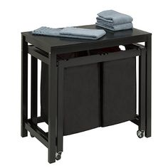 Honey-Can-Do® Double Laundry Sorter and Folding Table in Black