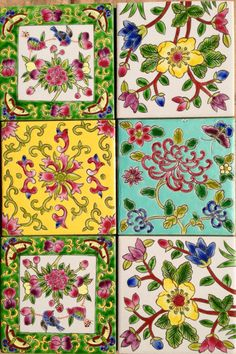 These look as if they may be Peranakan Tile Patterns, Pattern Art, Pattern Design, Azulejos Art Nouveau, Tuile, Chinese Patterns, Motif Floral, Decoupage Paper, Tile Art