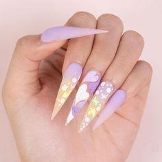 Plain Acrylic Nails, Acrylic Nails Coffin Pink, Summer Acrylic Nails, Summer Stiletto Nails, Summer Nails, Stylish Nails, Trendy Nails, Acrylic Nail Designs, Nail Designs Bling