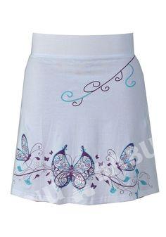 Sukně, krátká, bílá, motýlí tisk a výšivka   SANU BABU