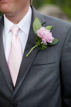 Grey Suit, Blush Pink Tie, Pink Boutonniere