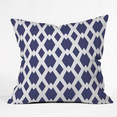 Lisa Argyropoulos Daffy Lattice Navy Throw Pillow | DENY Designs Home Accessories