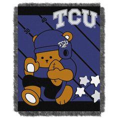 Texas Christian Horned Frogs NCAA Triple Woven Jacquard Throw (Fullback Baby Series) (36x48)