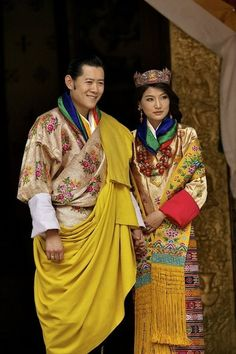 King and Queen of the Buddhist Kingdom of Bhutan on their wedding day