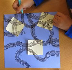 """We then started working with a number of post it notes with groups of curved lines like little rainbows or """"nobows"""" as the children were ca..."""
