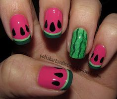 Watermelon nails-This would be cute for toe nails So Nails, How To Do Nails, Cute Nails, Pretty Nails, Hair And Nails, Funky Nail Art, Funky Nails, Cute Nail Art, Watermelon Nail Art