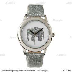 Sparkly colourful silver mosaic Elephant Wrist Watch by #PLdesign #SilverMosaic #ElephantGift