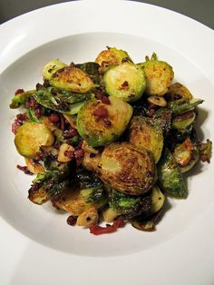 Crispy Brussel Sprouts with Bacon and Garlic — Love buying a whole stalk of sprouts and roasting them. Will try this as an alternative.