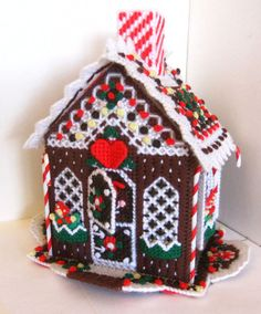 "PLASTIC CANVAS GINGERBREAD HOUSE finished Christmas Decor 10"" tall CUTE!"