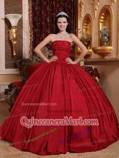 Simple Red Ball Gown Strapless Beading Dresses For a Quinceanera