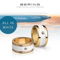 All in white; BERING jewellery; Arctic Symphony Collection, Twist & Change System; Ring combination