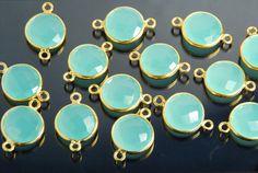 2 pieces: Grade AAA aqua chalcedony gemstone bezel by JWbeads