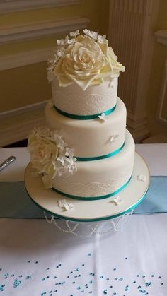 Ivory and Jade,   Lace Wedding Cake  ~  All edible