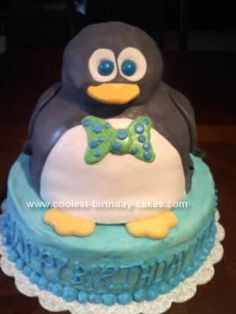 Homemade Penguin Birthday Cake Design: My friend said that her son would like a Penguin Birthday Cake Design for his 3 year old birthday party. OK, no problem! Well, after searching the internet