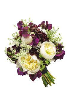 Monochrome Bridal Bouquet: dahlia,sweet peas, peonies,phlox and cowparsley