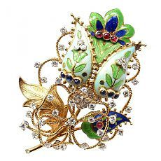 Tiffany & Co. Enamel Ruby Sapphire Diamond Yellow Gold Large Flower Pin Brooch