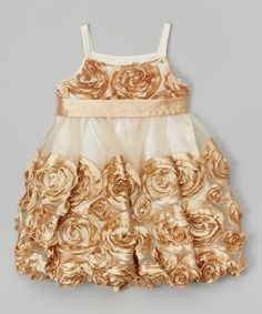 Gold Floral Babydoll Dress - Toddler by Gerson & Gerson #zulily #zulilyfinds
