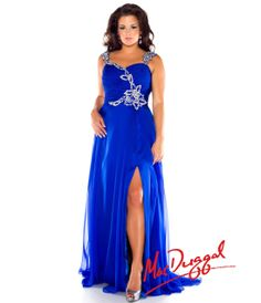 Mac Duggal 2014 Plus Size Prom Dresses - Royal Blue Crystal Beaded Chiffon Long Gown - Unique Vintage - Prom dresses, retro dresses, retro swimsuits.