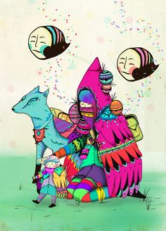 los duendes recogen miel by piñatha , via Behance Artsy Fartsy, The Dreamers, Tumblr, Picnic, Painting, Fictional Characters, Inspiration, Behance, Reading