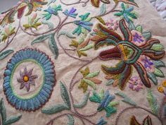 Vintage embroidered linen cushion or pillow by OldEnglishRoses