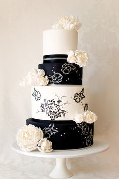 black and white wedding cake - Google Search