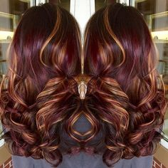 Copper highlights red violet hair color with highlights burgundy hair wit. Winter Hairstyles, Cool Hairstyles, Hairstyles And Color, Burgundy Hairstyles, Fall Hair Colors, Fall Winter Hair Color, Hot Hair Colors, Brown Hair Colors, Hair Color And Cut