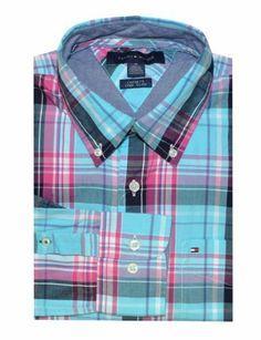Tommy Hilfiger Men Custom Fit Checkered Shirt (M, Aqua/Pink/Navy) Tommy Hilfiger,http://www.amazon.com/dp/B00JXS8XHC/ref=cm_sw_r_pi_dp_.6XDtb08TGB9FK5X