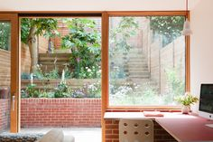 Herringbone parquet and stained ply cabinetry feature in London extension by Nimtim Architects (Dezeen) Terraced House, Terraced Garden, Brick Extension, Rear Extension, 1960s House, Chevrons, Roof Architecture, Victorian Terrace, London House