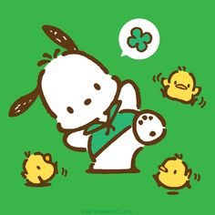 Are you wearing green today like Pochacco for St. Sanrio Wallpaper, Cartoon Wallpaper, Pochacco Sanrio, Halloween Icons, Snoopy, Japanese Cartoon, Sanrio Characters, Little Twin Stars, Cool Artwork